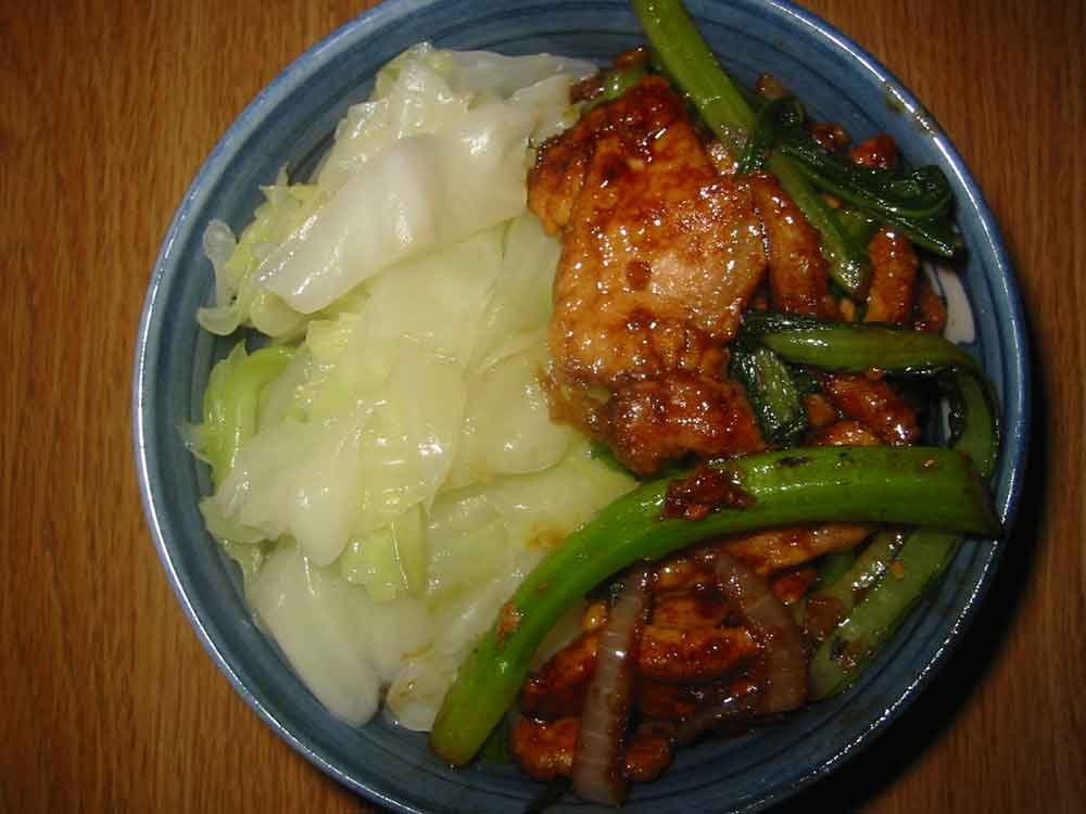 pork with plum sauce and choy sum