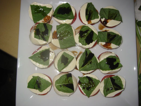 mozzarella, basil, and tomato