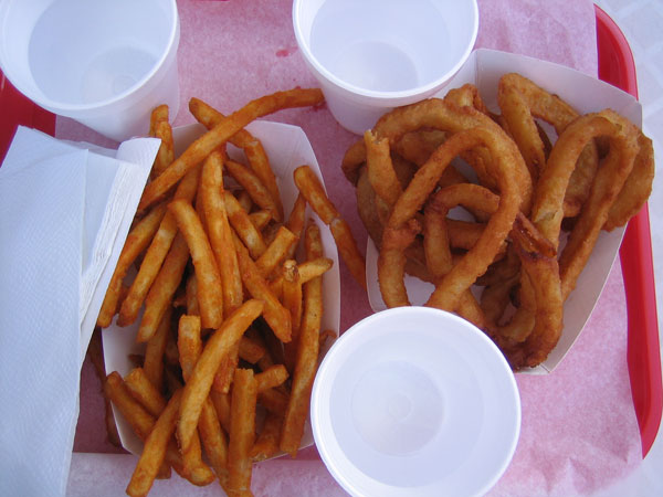 fries and onion rings
