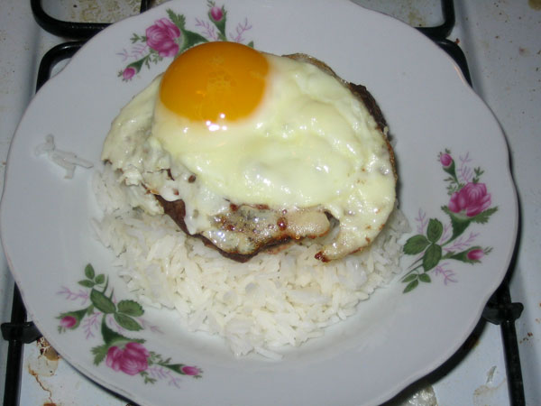 rice + patty + egg